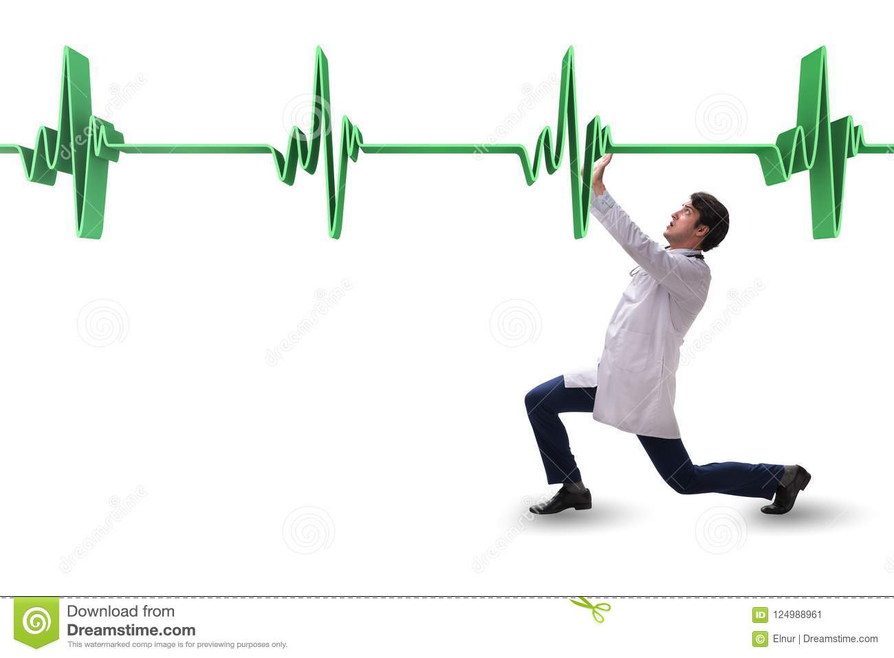 The Doctor Cardiologist Supporting Cardiogram Heart Line