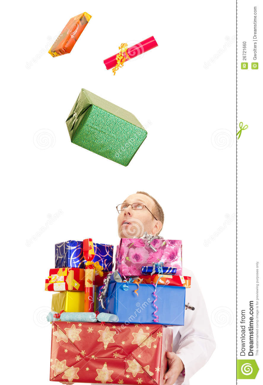 A Doctor Catching Lot Of Gifts