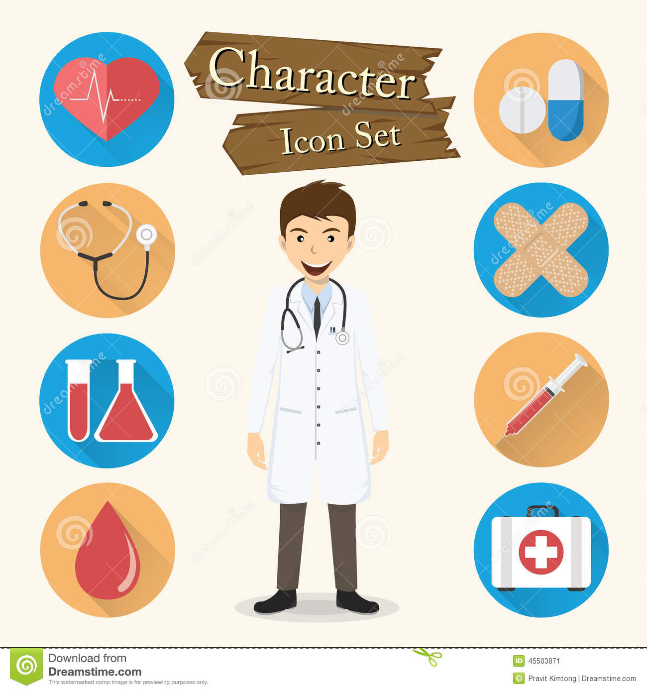 Doctor Character Icon Set Vector Stock Vector - Image: 45503871