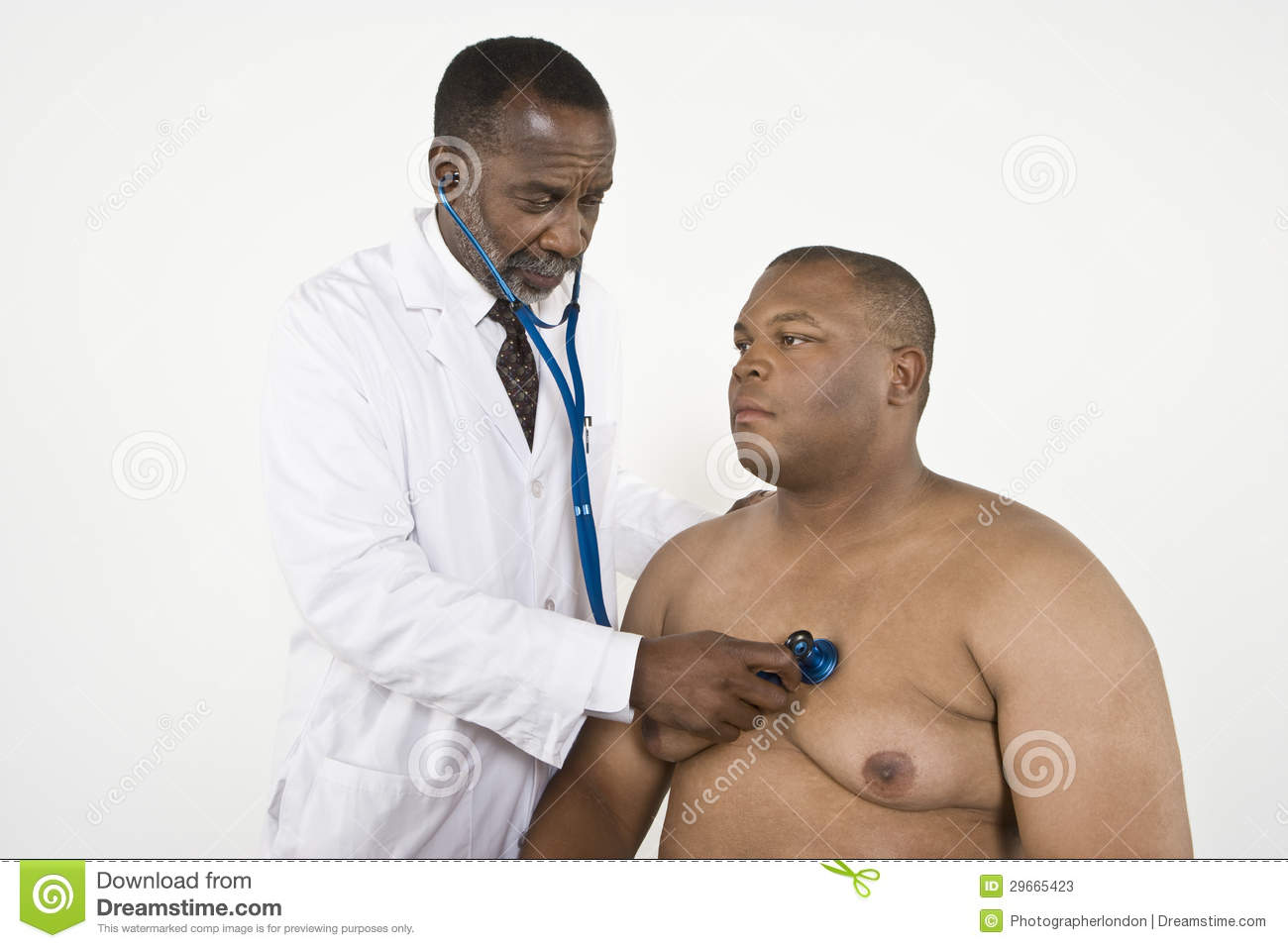 Doctor Checking An Obese Patient s Heartbeat