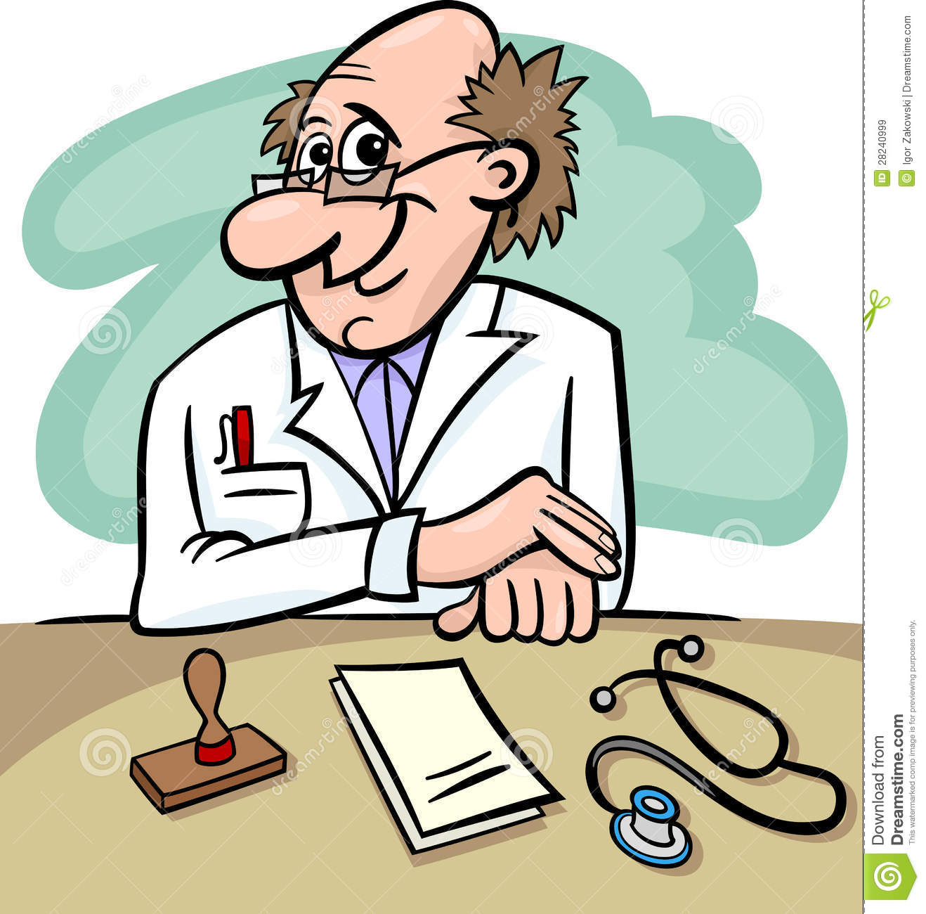 Doctor In Clinic Cartoon Illustration Royalty Free Stock