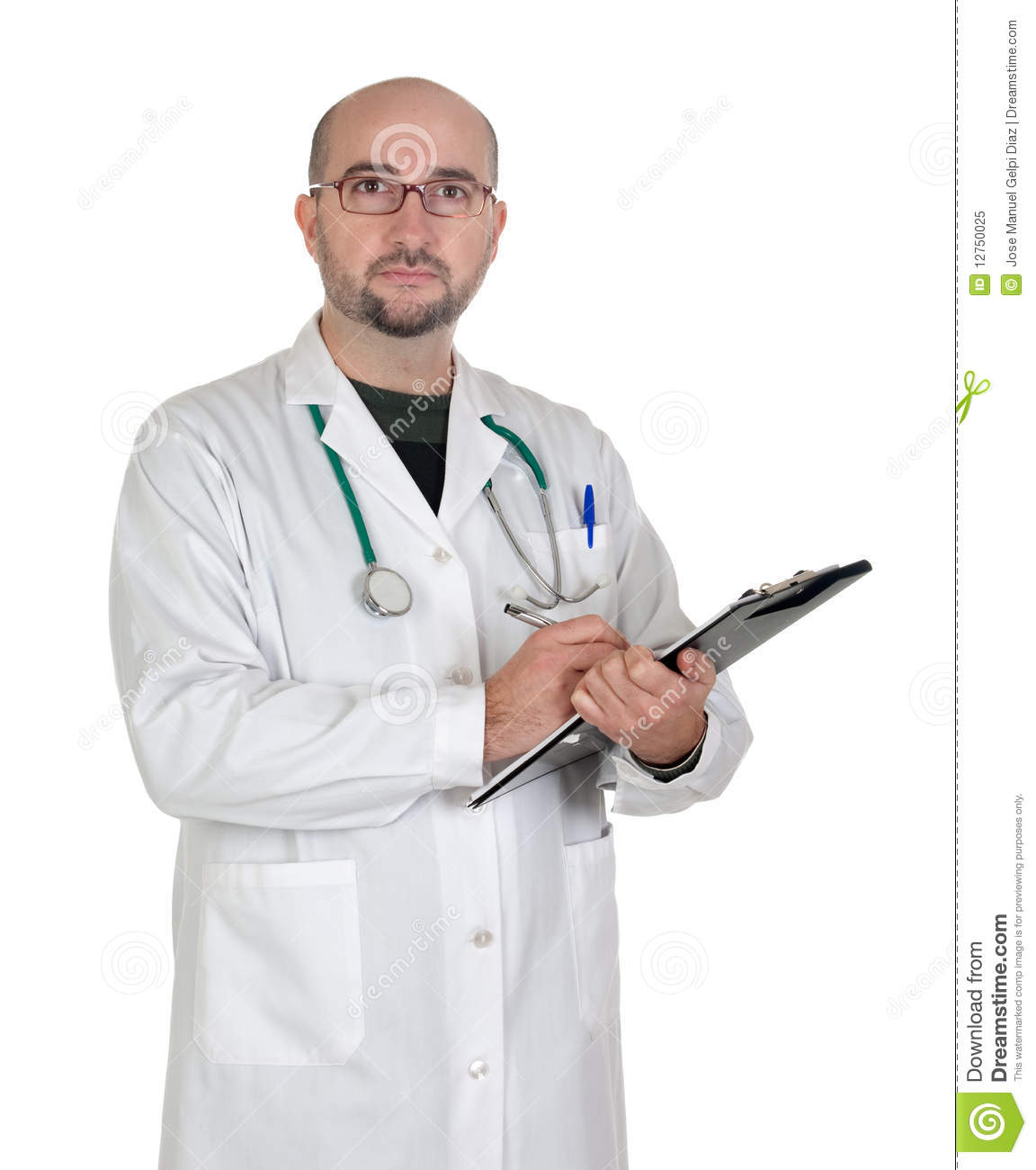 Doctor with clipboard and paperwork