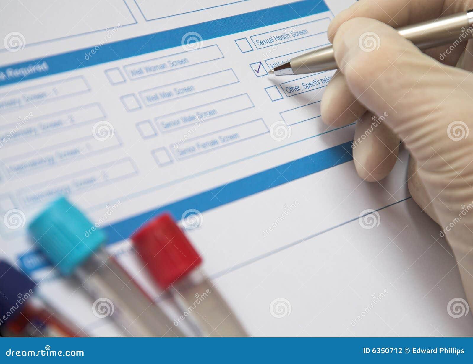 Doctor Completing a Blood Test Form