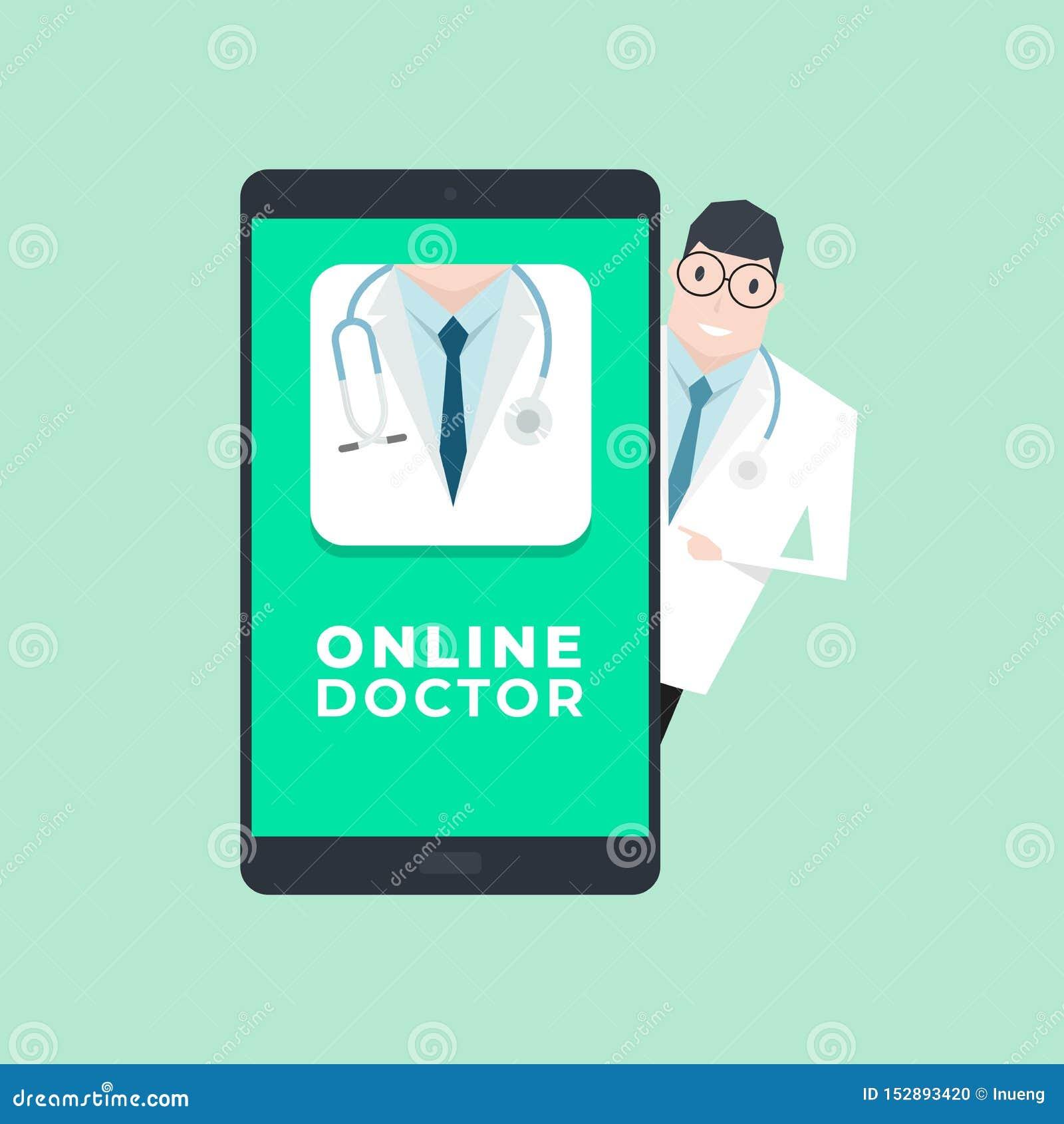 Doctor con la aplicación móvil Concepto en l?nea del doctor