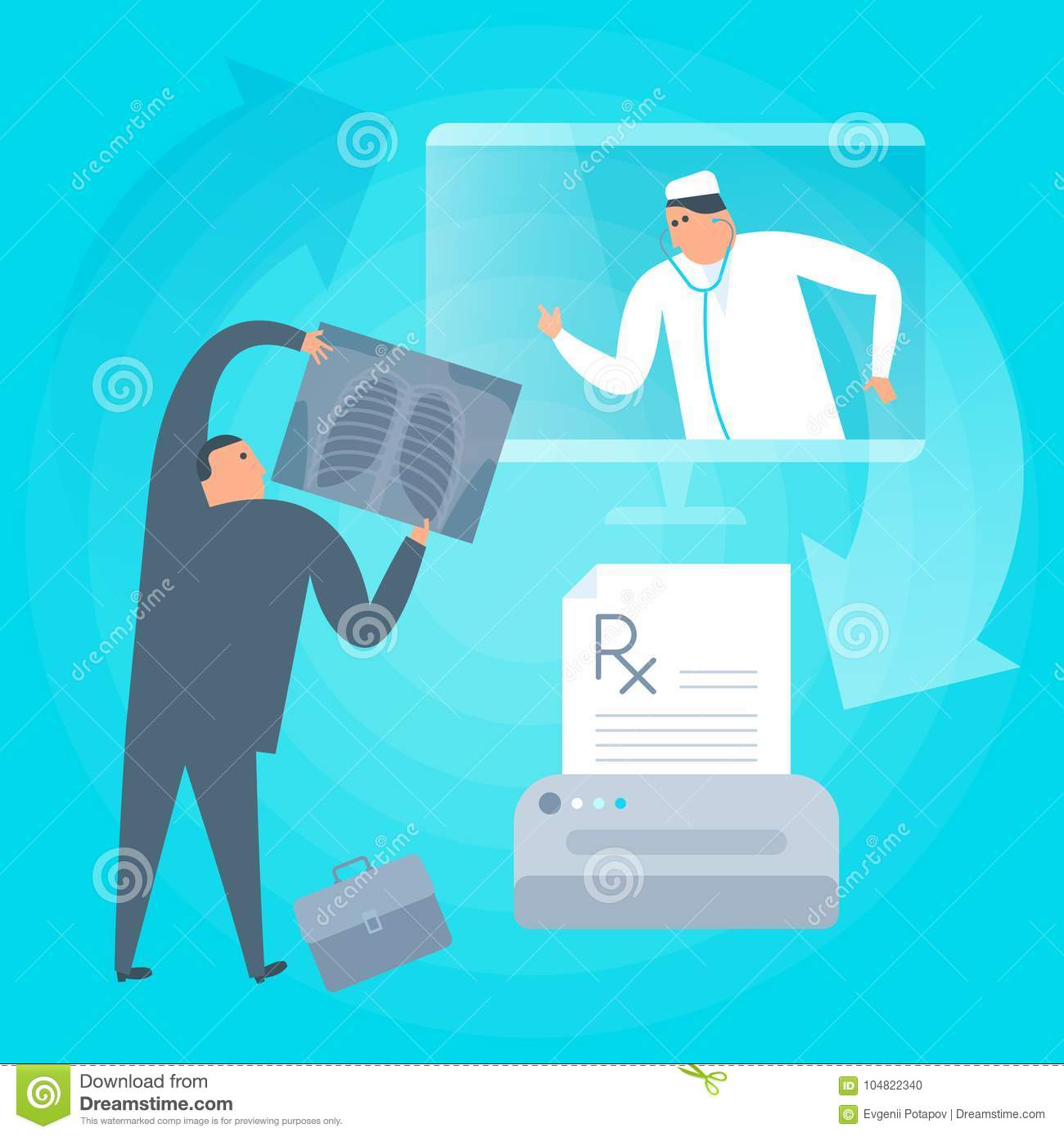 Doctor Consults Online By Computer, Prints Prescription. Telemed ...