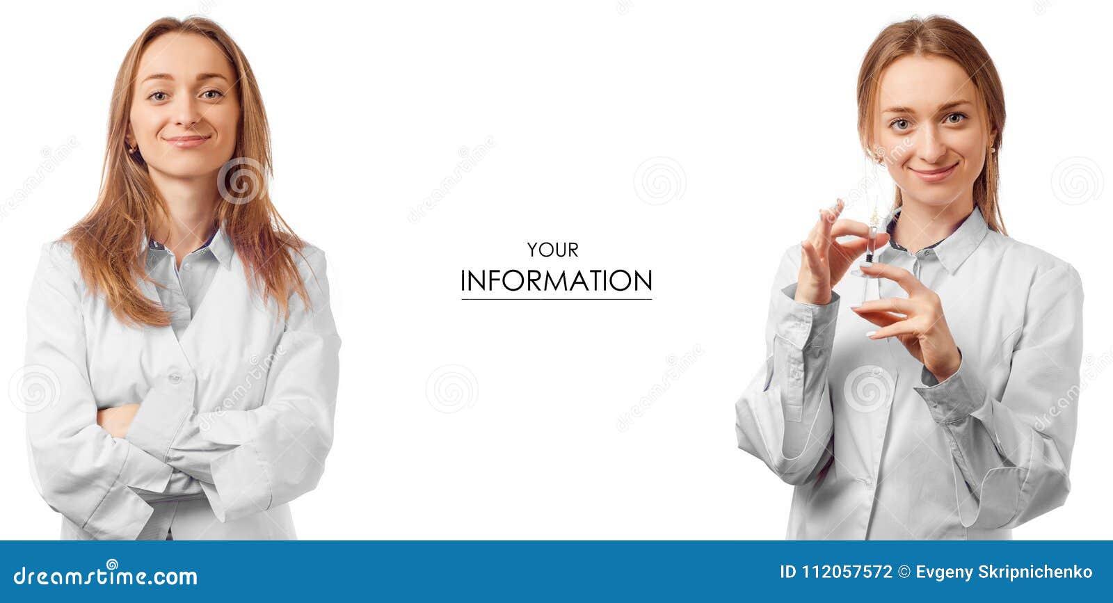 Doctor de la mujer en vestido médico con el modelo determinado de la medicina de la salud de la jeringuilla