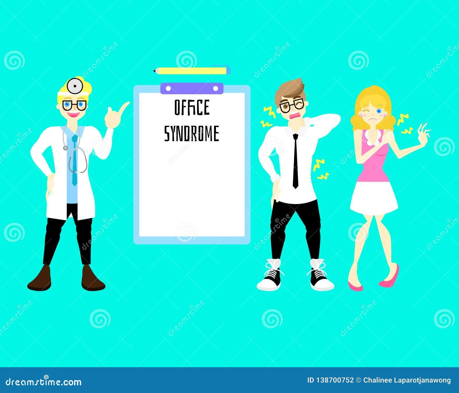 Doctor de sexo masculino con el hombre y la mujer que tienen síntoma del dolor de espalda del síndrome de la oficina, concepto in