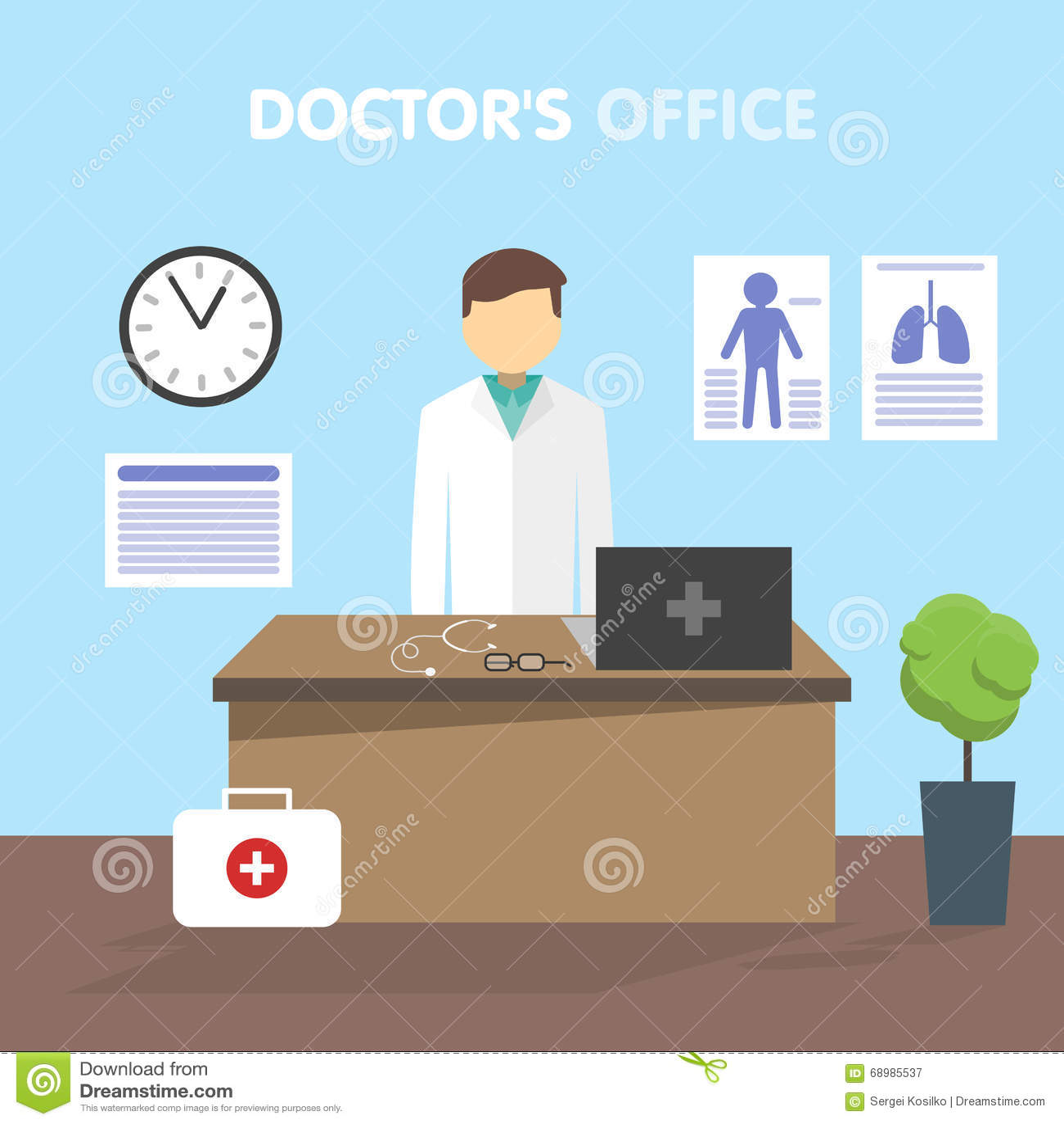 Doctor del lugar de trabajo, ejemplo del vector