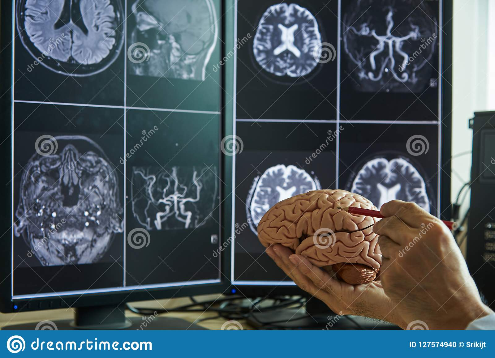 Doctor Demonstrating Human Brain Anatomy And Mri Brain On Background