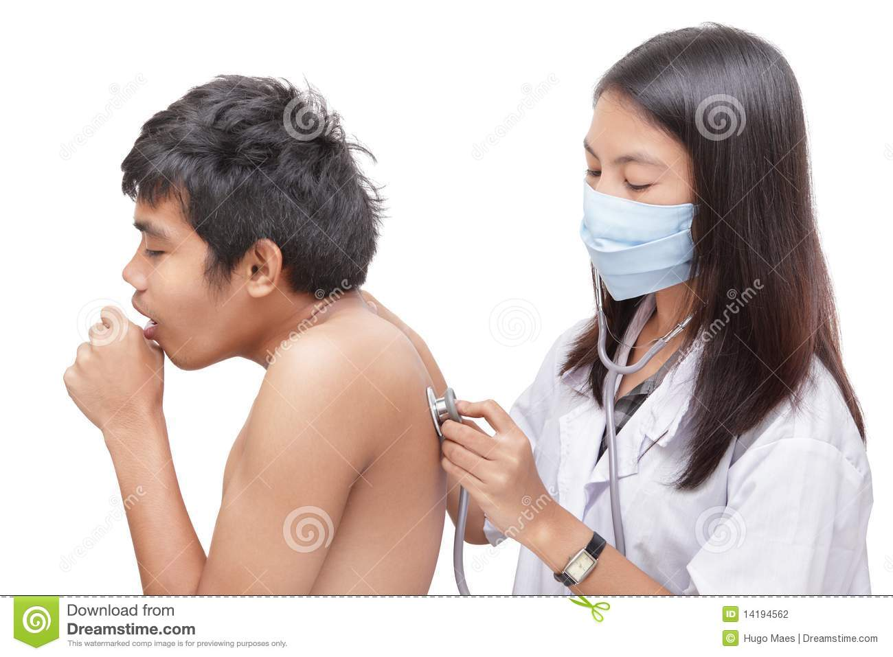 Stock Photography Doctor Diagnosing Coughing Patient Image14194562