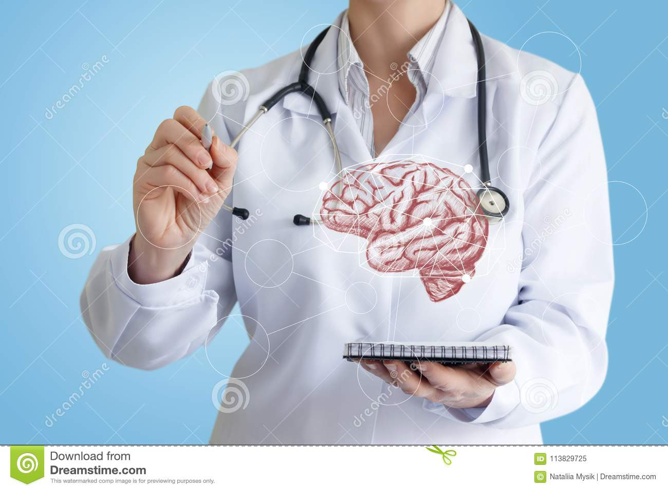 Doctor Draws A Diagram Of The Impact On The Brain Stock Image