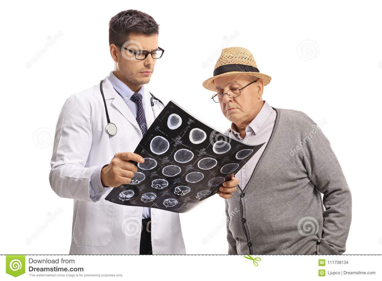 Doctor and an elderly patient looking at an x-ray scan