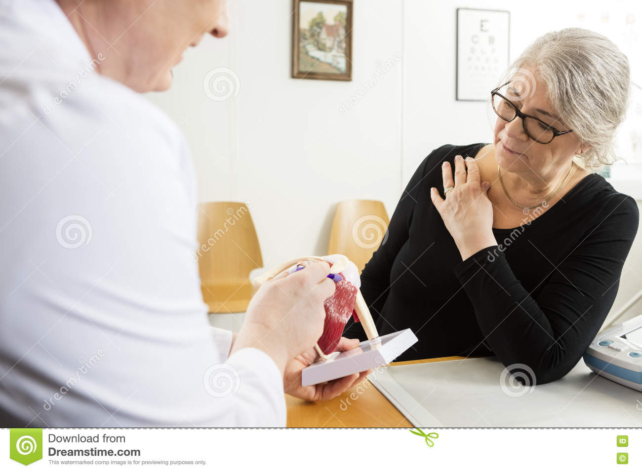 Doctor Explaining Shoulder Rotator Cuff Model To Senior Woman