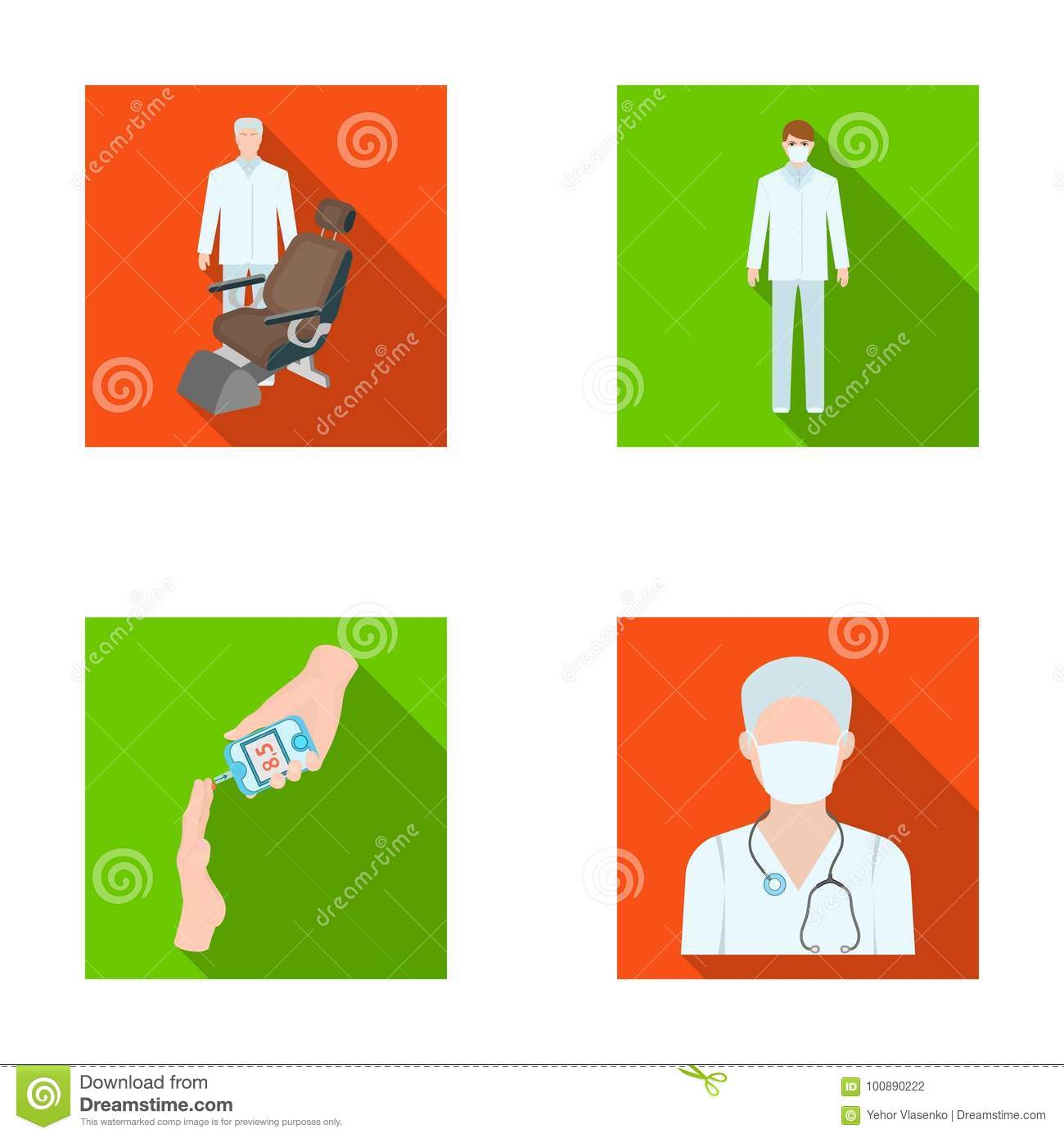 Doctor in a face mask dentist medical staff a blood test for doctor in a face mask dentist medical staff a blood test for sugar medicineset collection icons in flat style vector symbol stock illustration buycottarizona Images