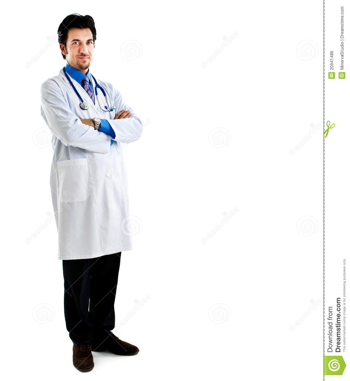 Full length portrait of a doctor isolated on white.