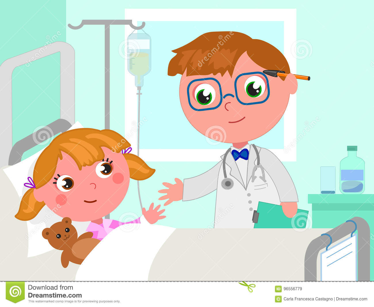 Cartoon Girl In Hospital Bed