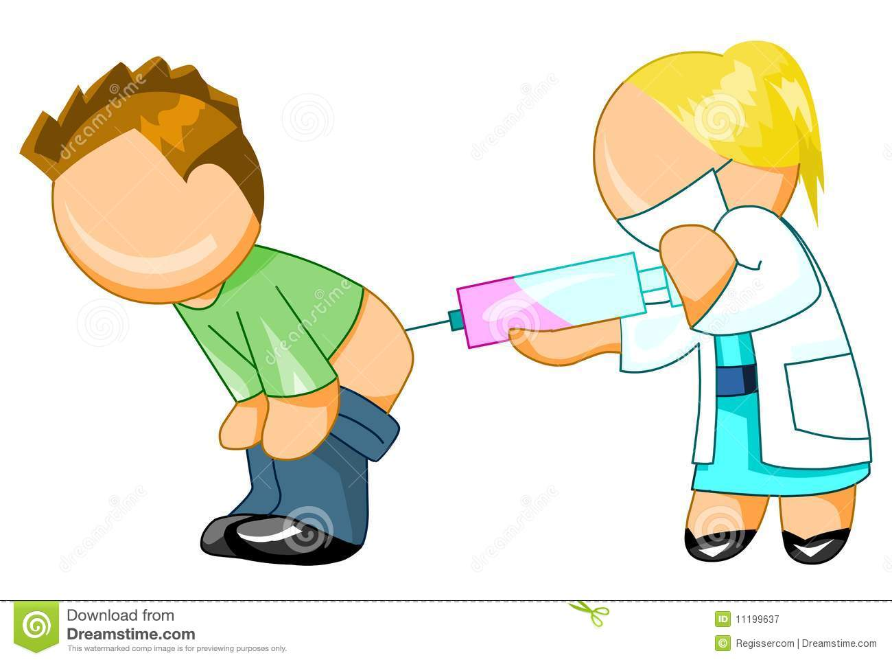 Doctor Giving An Injection To Man Stock Illustration