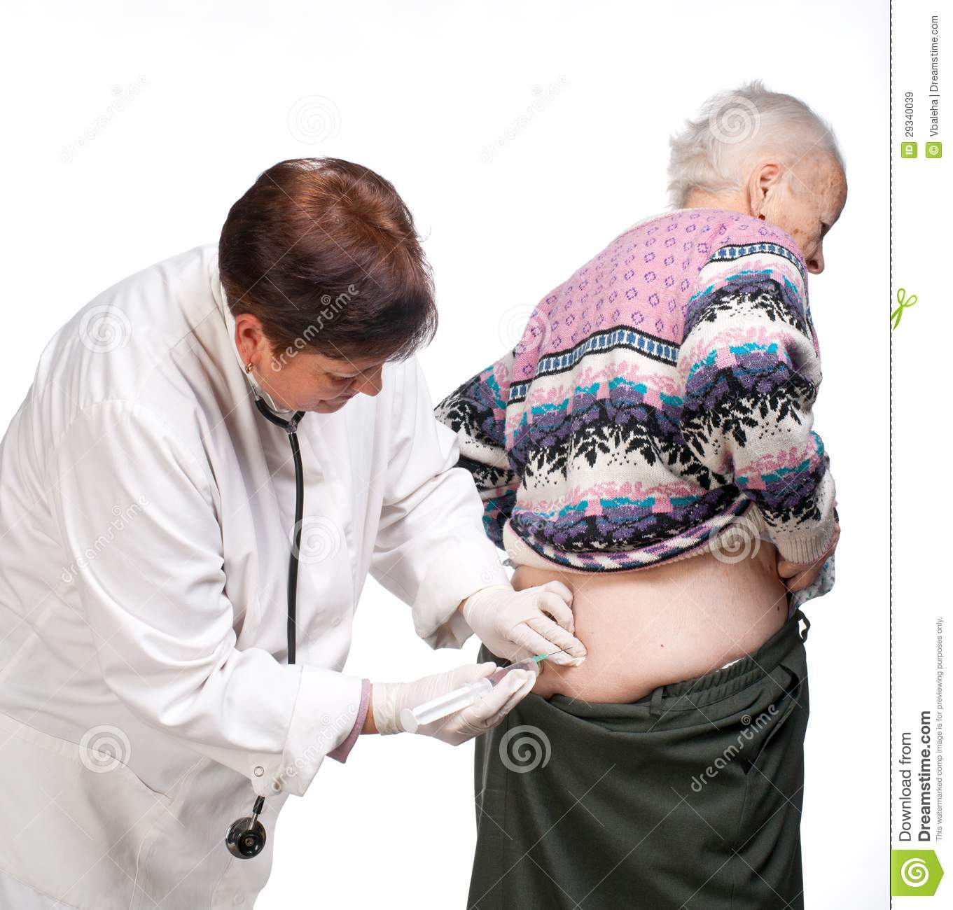 Doctor Giving Injection on Hips Doctor Giving Injection to Old