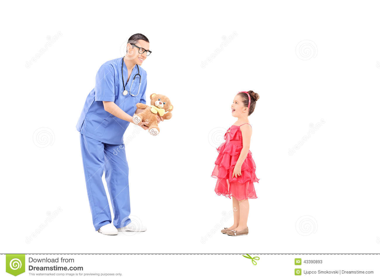 doctor giving teddy bear to a surprised little girl stock eye doctor clipart images eye doctor clipart images