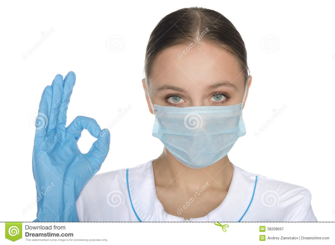 Doctor in gloves and mask shows gesture okay