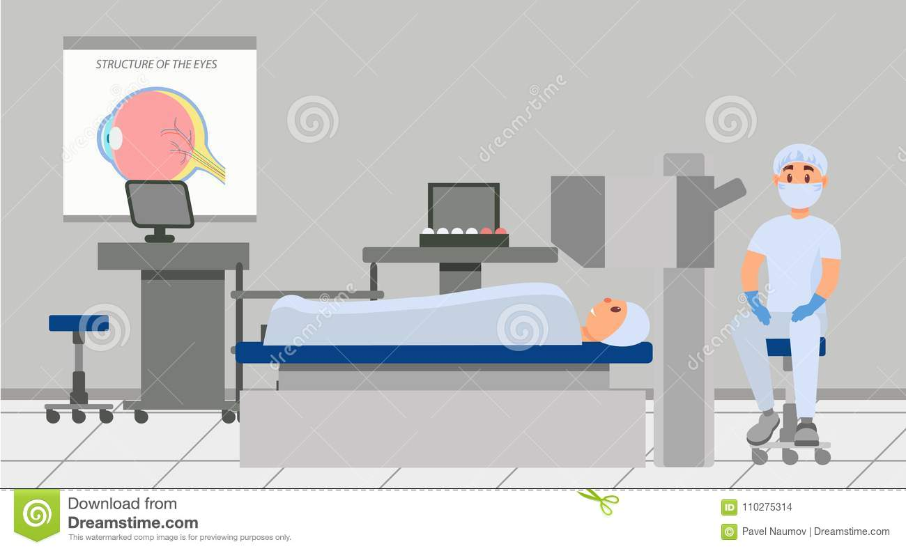 Doctor going to conduct eye surgery with using microscope. Patient lying on table in operating room. Professional