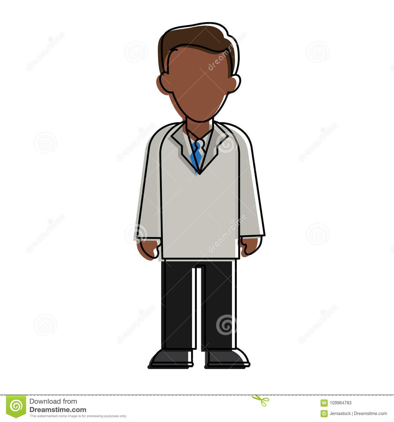 Doctor With Gown Faceless Avatar Stock Vector - Illustration of icon ...