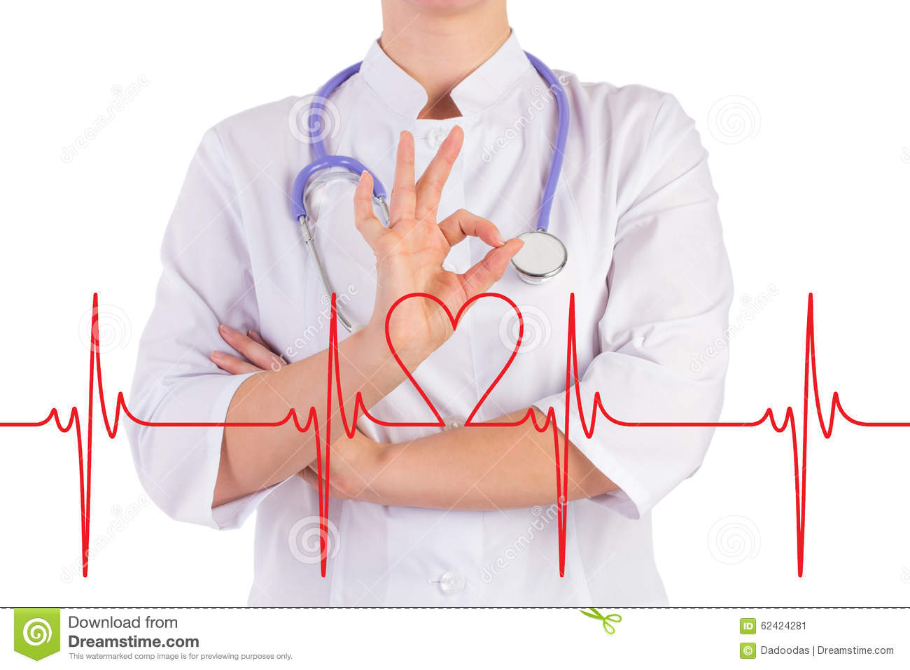 Doctor Hand Shows Everything Is Ok The Diagram Of The Heart Stock