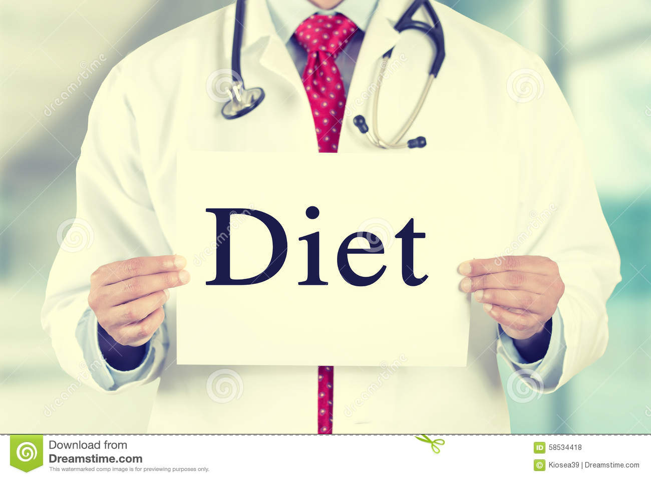 Doctor Hands Holding White Card Sign With Diet Text ...
