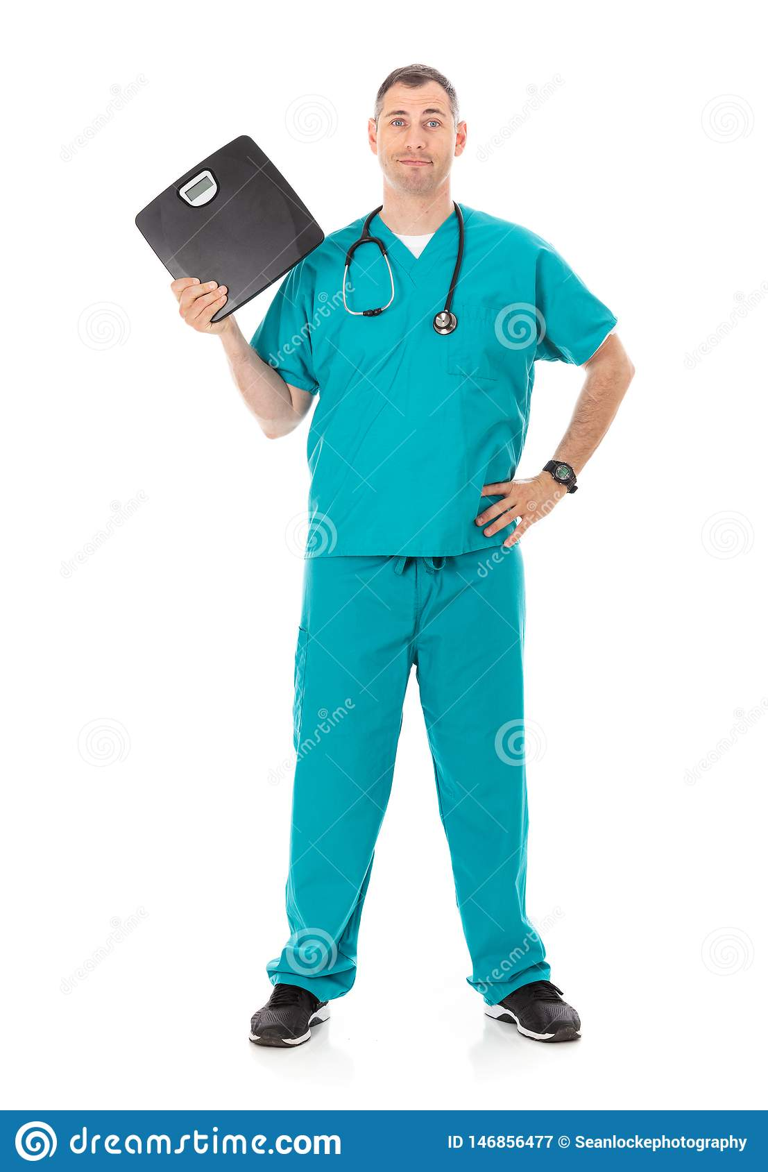 Doctor: Holding A Black Scale For Weight Loss Theme