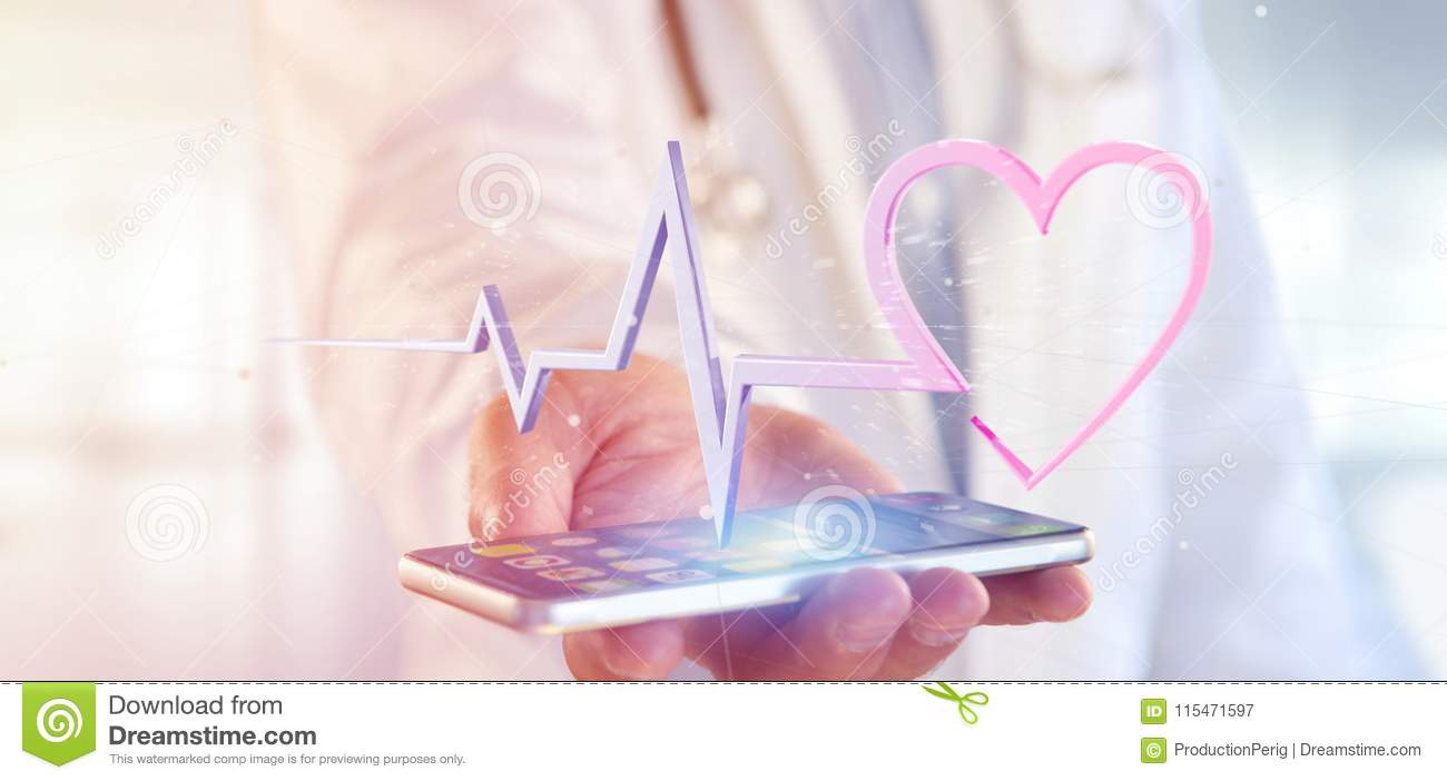 Doctor holding a 3d rendering medical heart curve