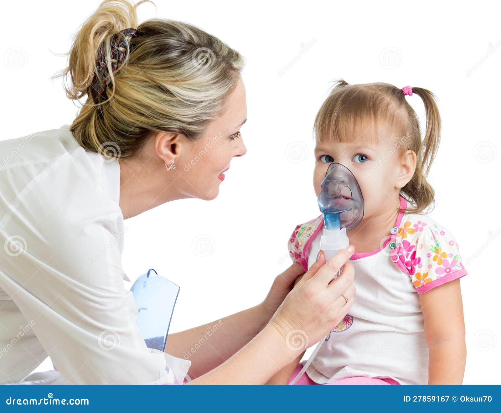Doctor Holding Inhaler Mask For Kid Breathing Stock Image ...