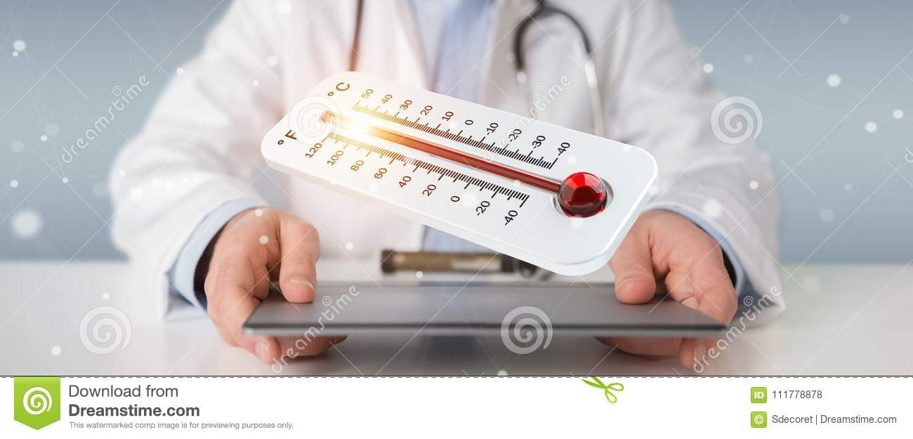 Doctor holding red hot digital thermometer 3D rendering