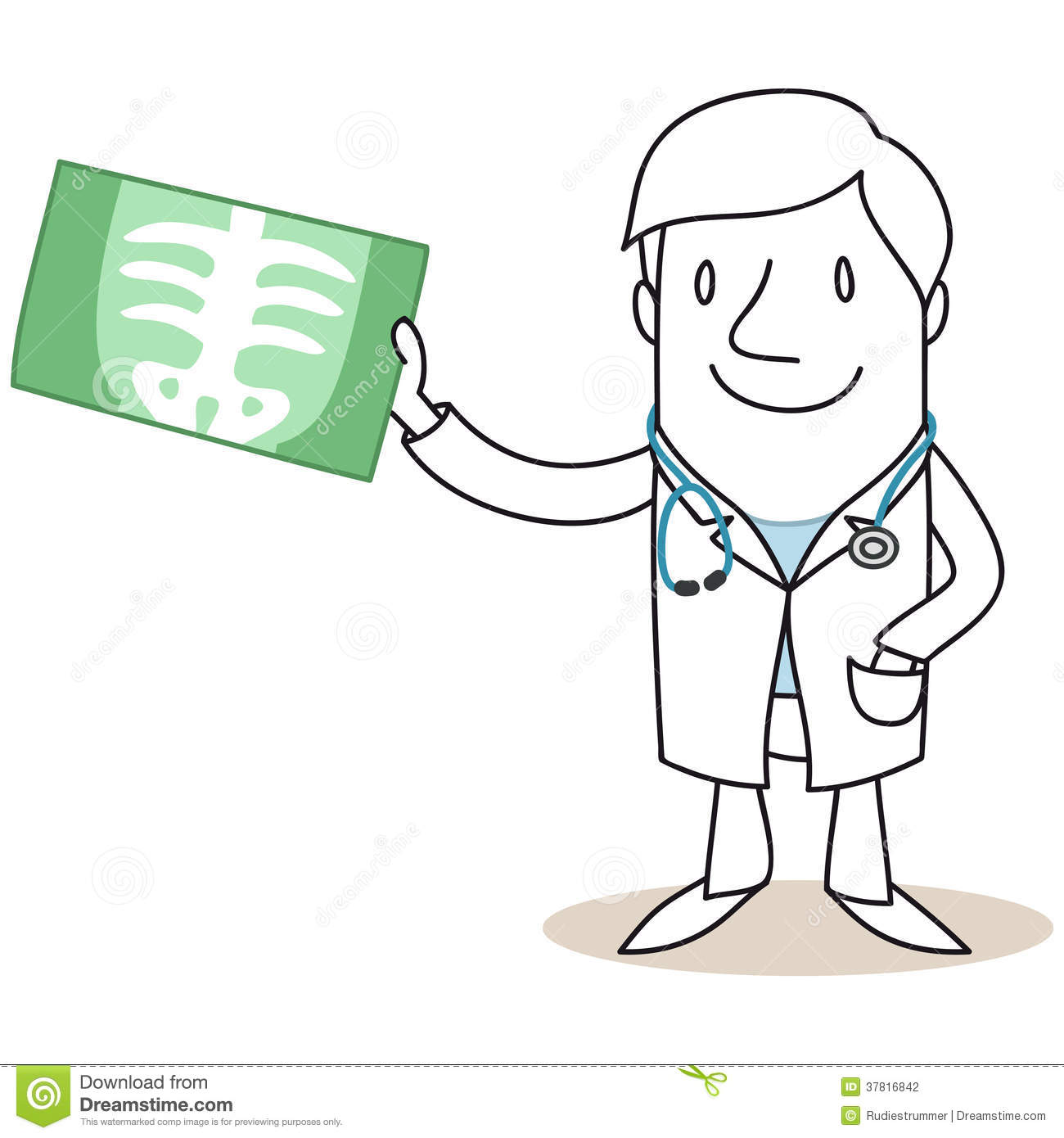 doctor holding up xray image stock vector image 37816842