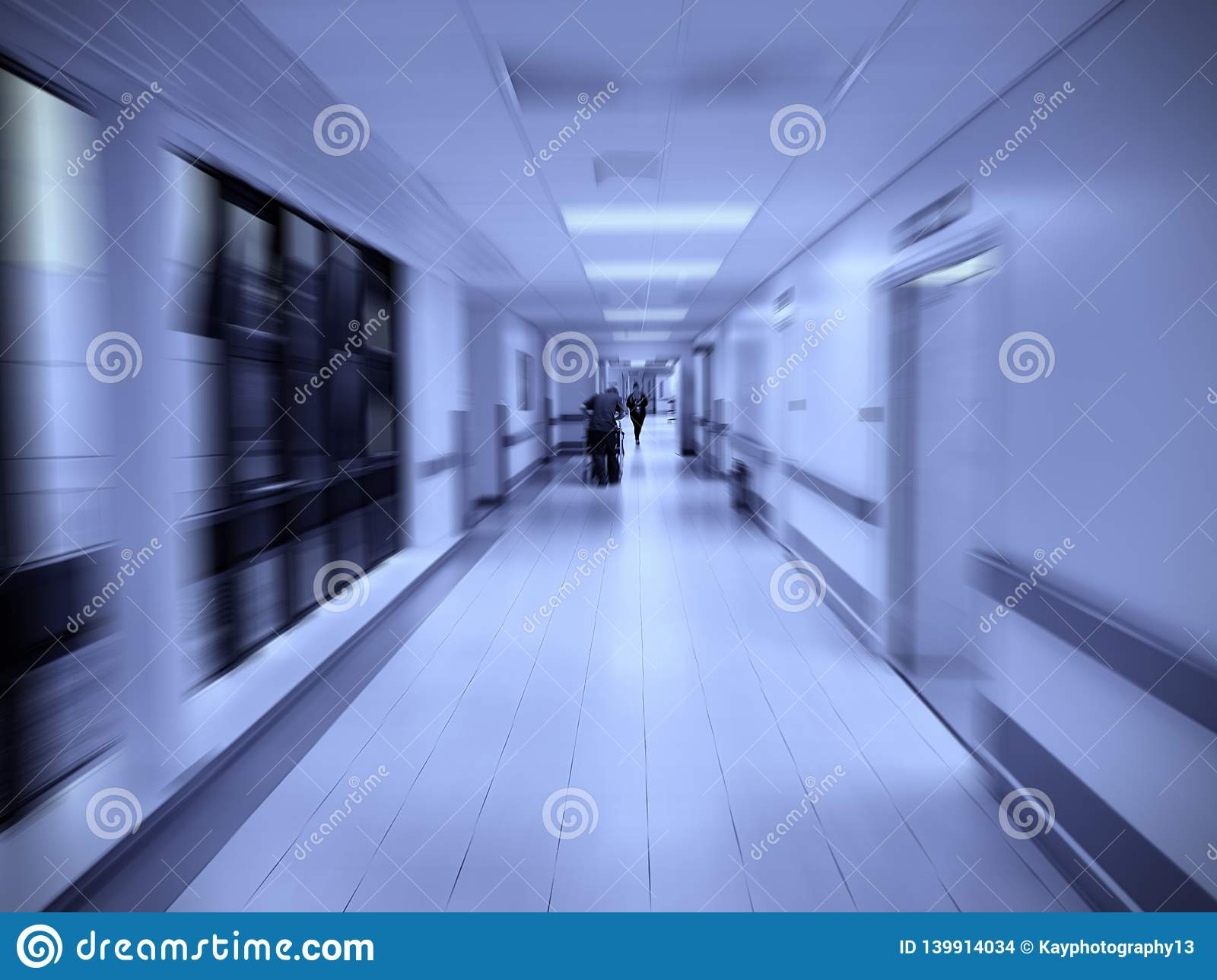 Doctor In Hospital Corridor Zoom Blurred Background With Two Tone