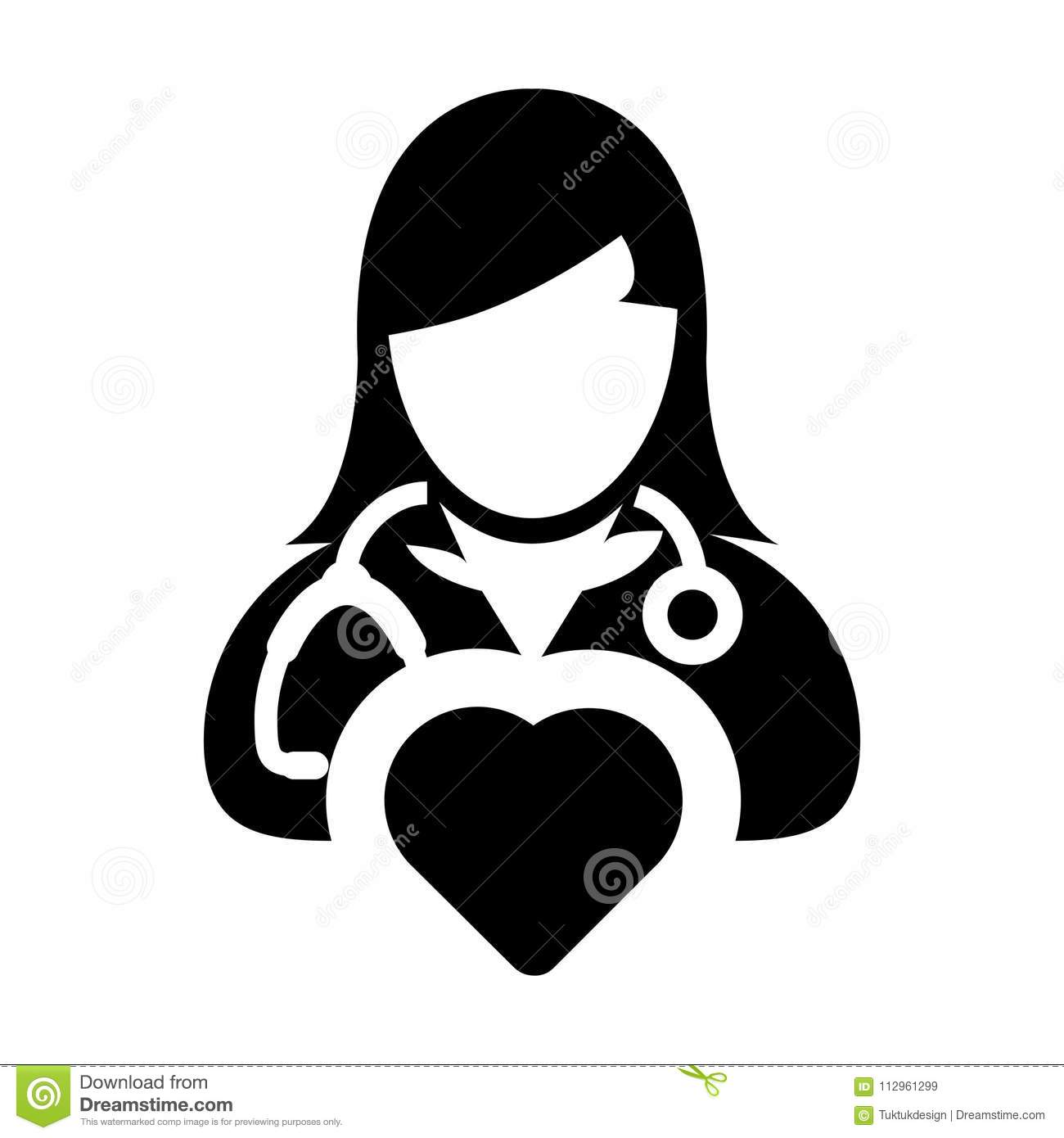 Doctor icon vector cardiologist specialist with heart symbol for doctor icon vector cardiologist specialist with heart symbol for female physician profile avatar in glyph pictogram biocorpaavc Gallery