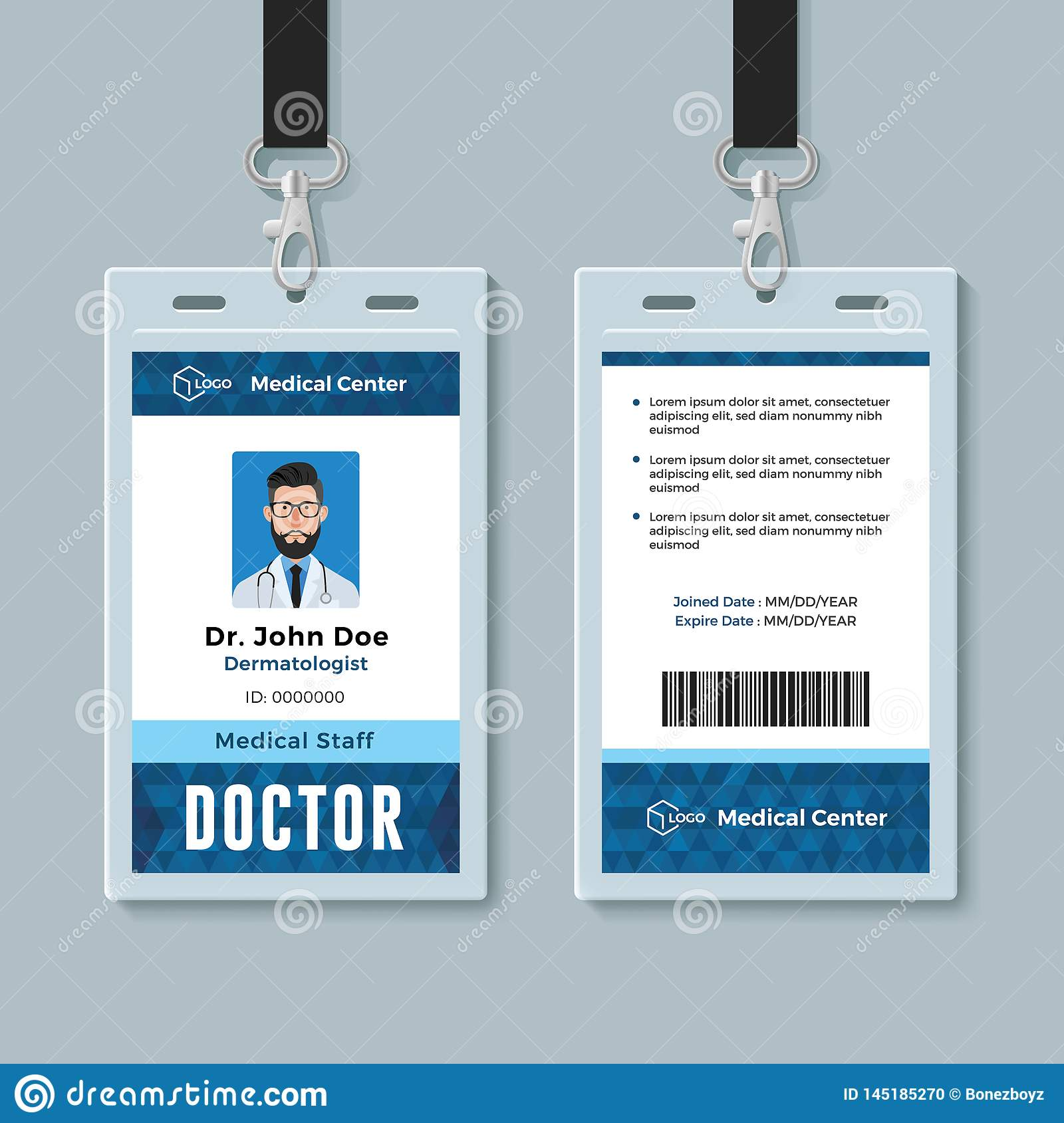 Doctor Id Card Medical Identity Badge Design Template Stock