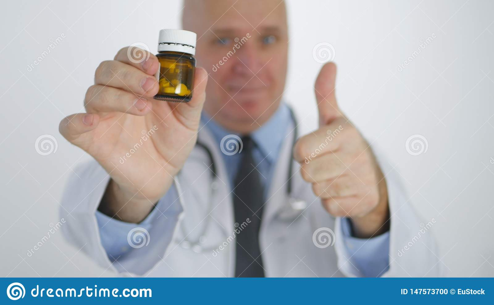 Doctor Image Thumbs Up Recommend Confident Medical Treatment with Vitamin Pills