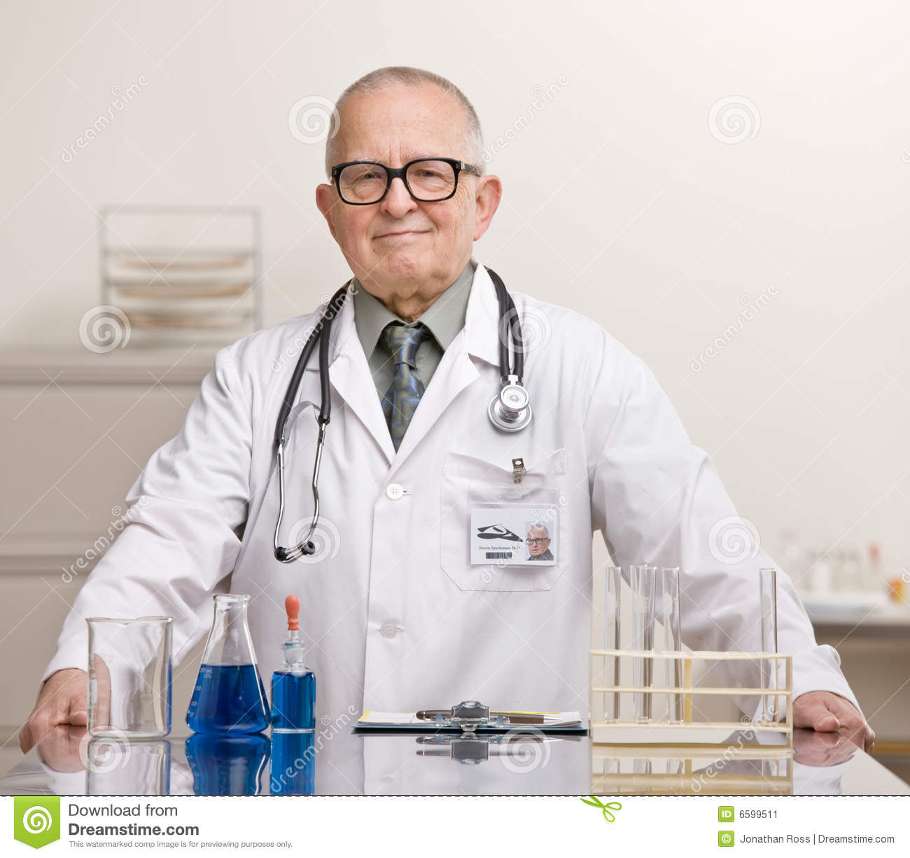 Doctor In Lab Coat And Stethoscope Stock Image - Image ...