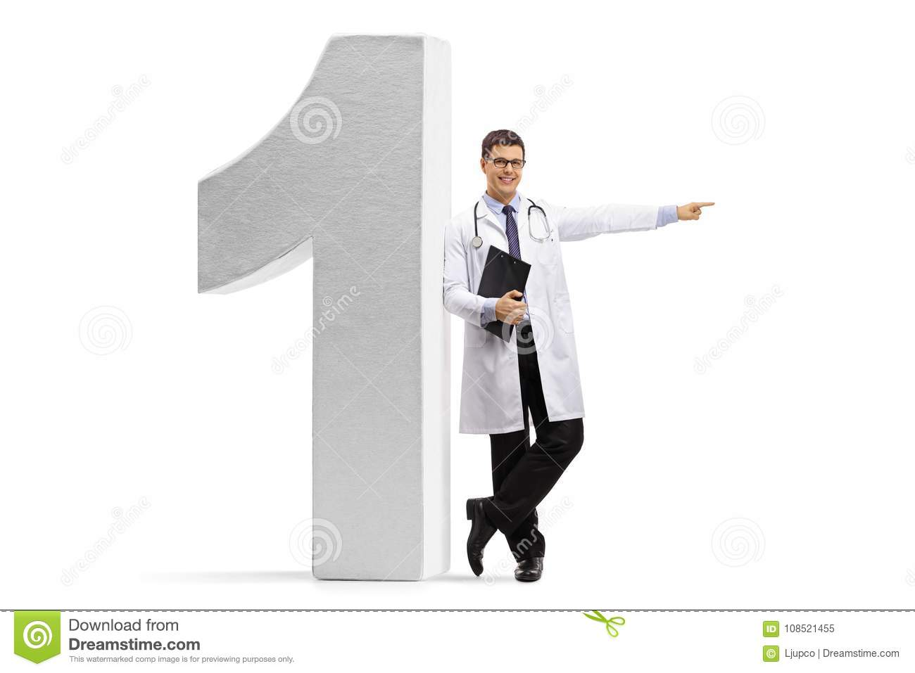 doctor leaning against a number one figure and pointing stock image