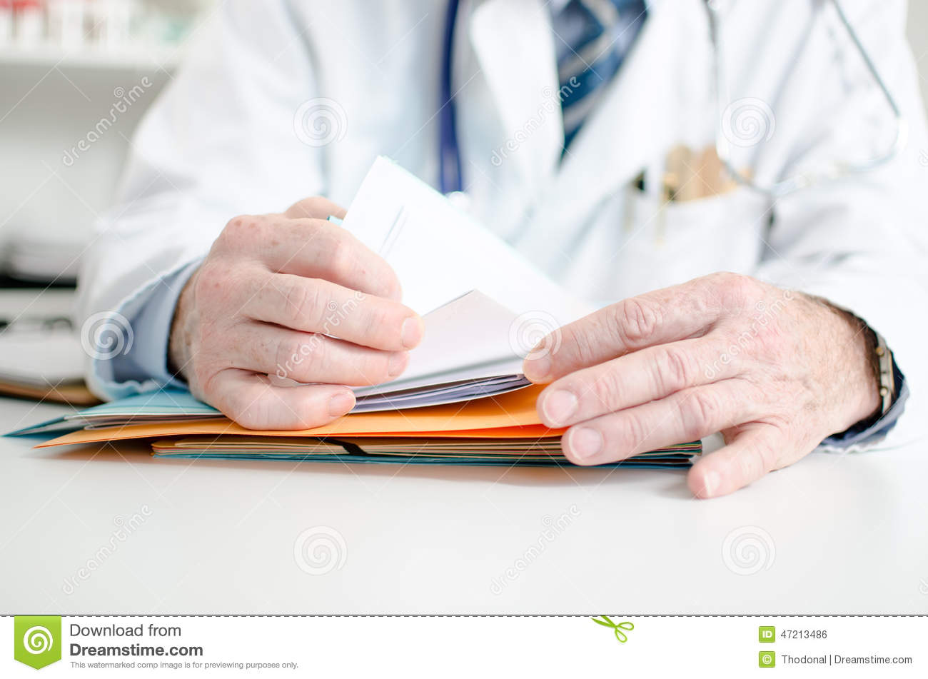 Doctor looking for a file
