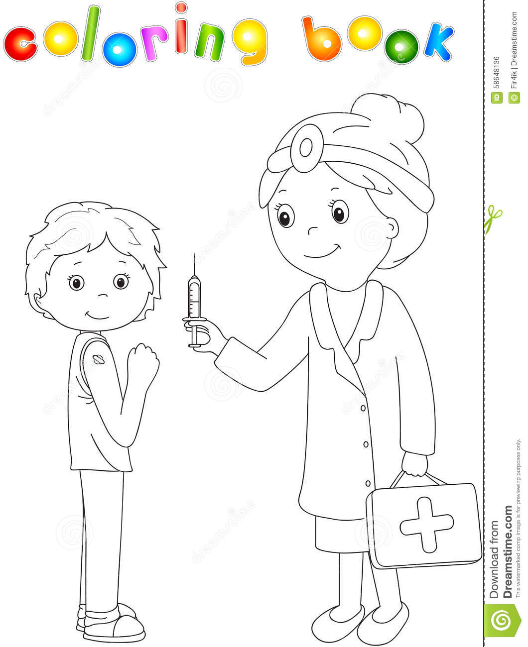 Doctor Makes Vaccination To The Patient Coloring Book For