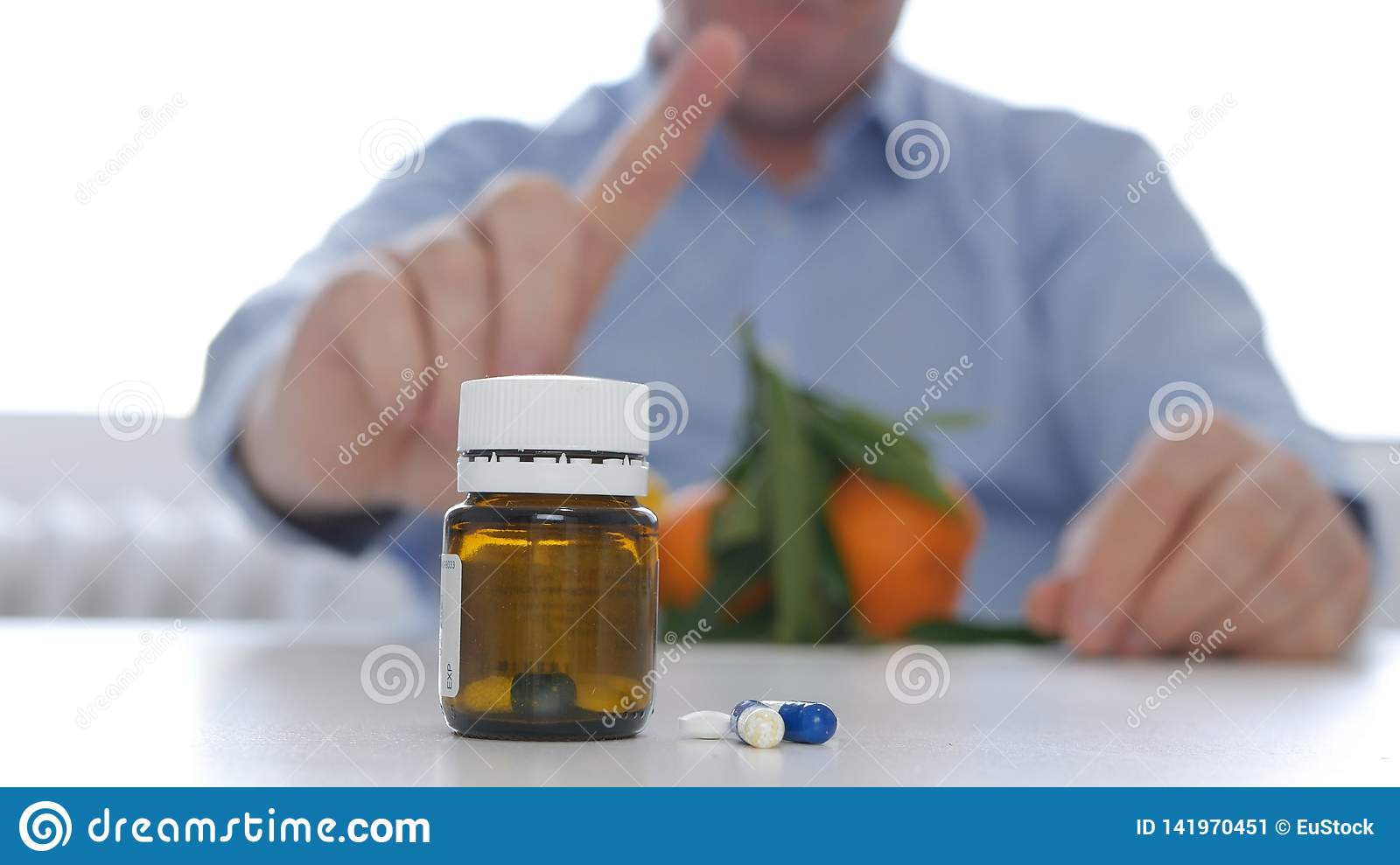 Doctor Making a Warning Hand Sign for Medication Abuse Agreeing Fruits Consume