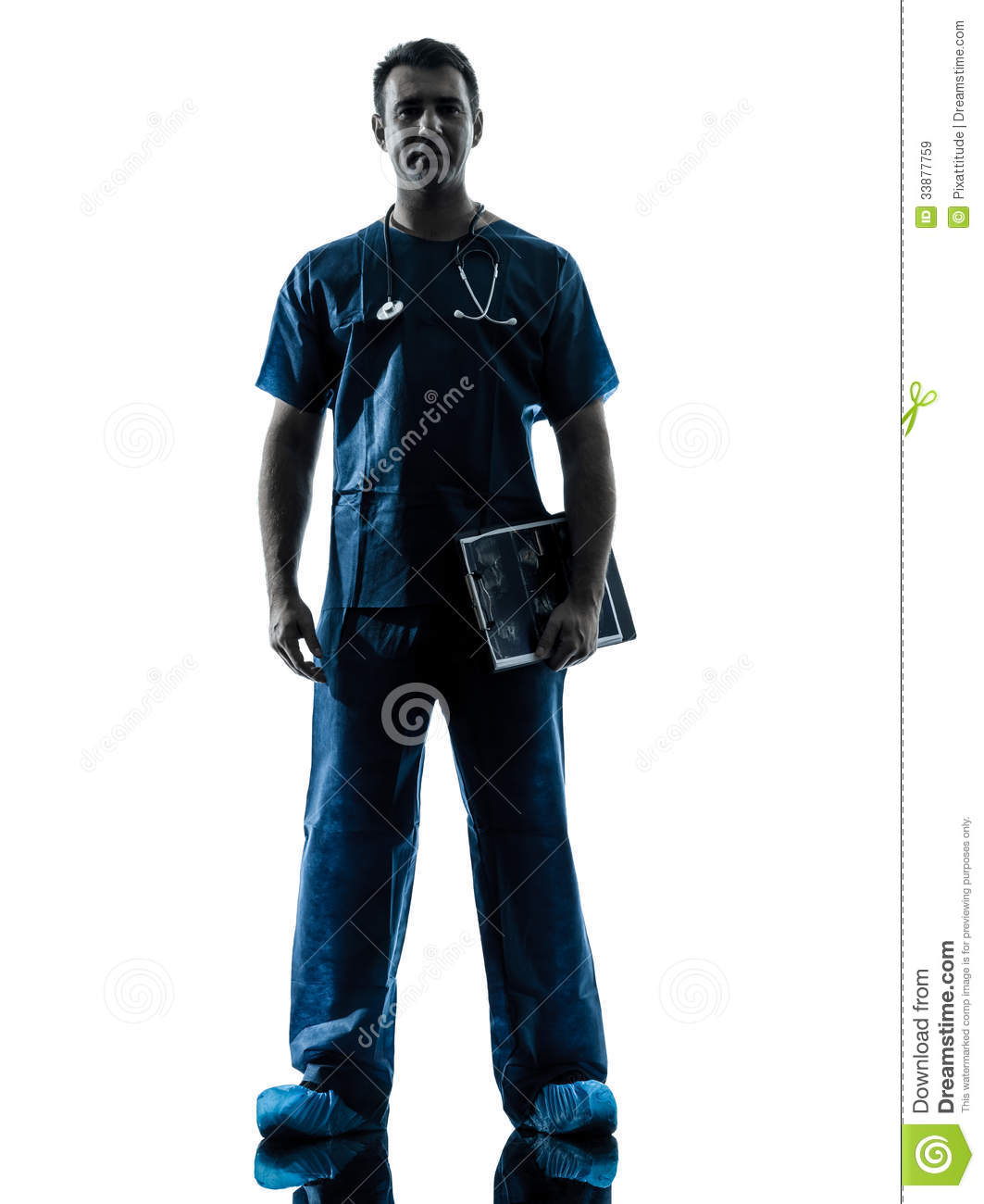 Doctor man silhouette standing Surgeon Silhouette