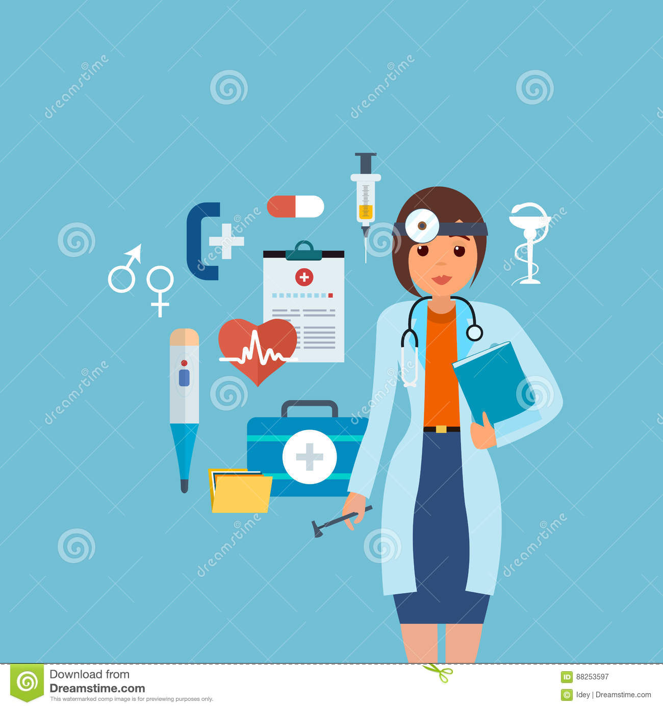 Doctor In Medical Gown With Tools And Research Results