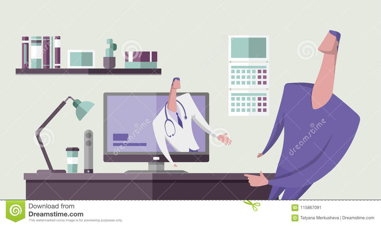 Doctor In Medical Suit Talking To A Man From Computer Monitor In