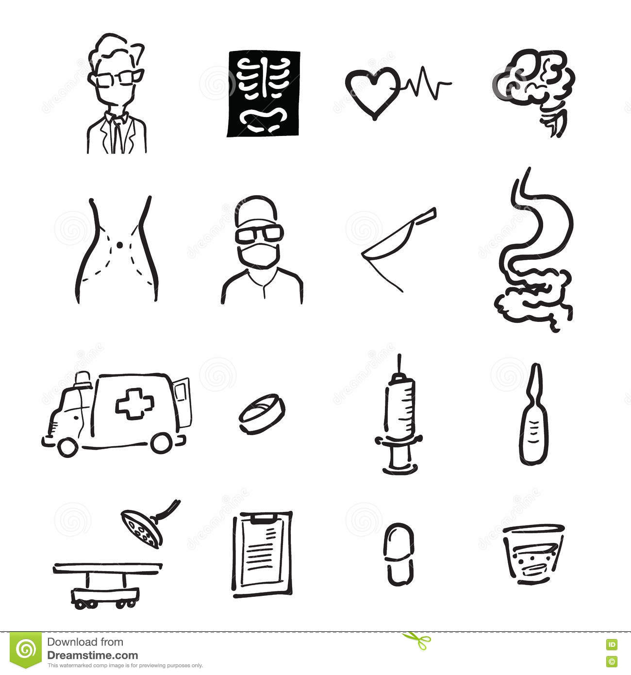 doctor and medicine cartoon drawing icons vector