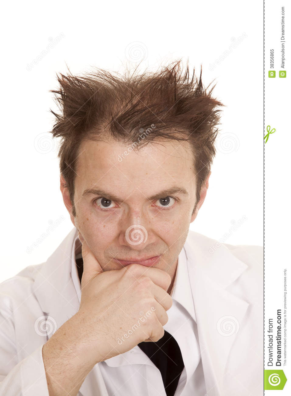 Messed Up Makeup: Doctor Messed Up Hair Hand On Chin Stock Image