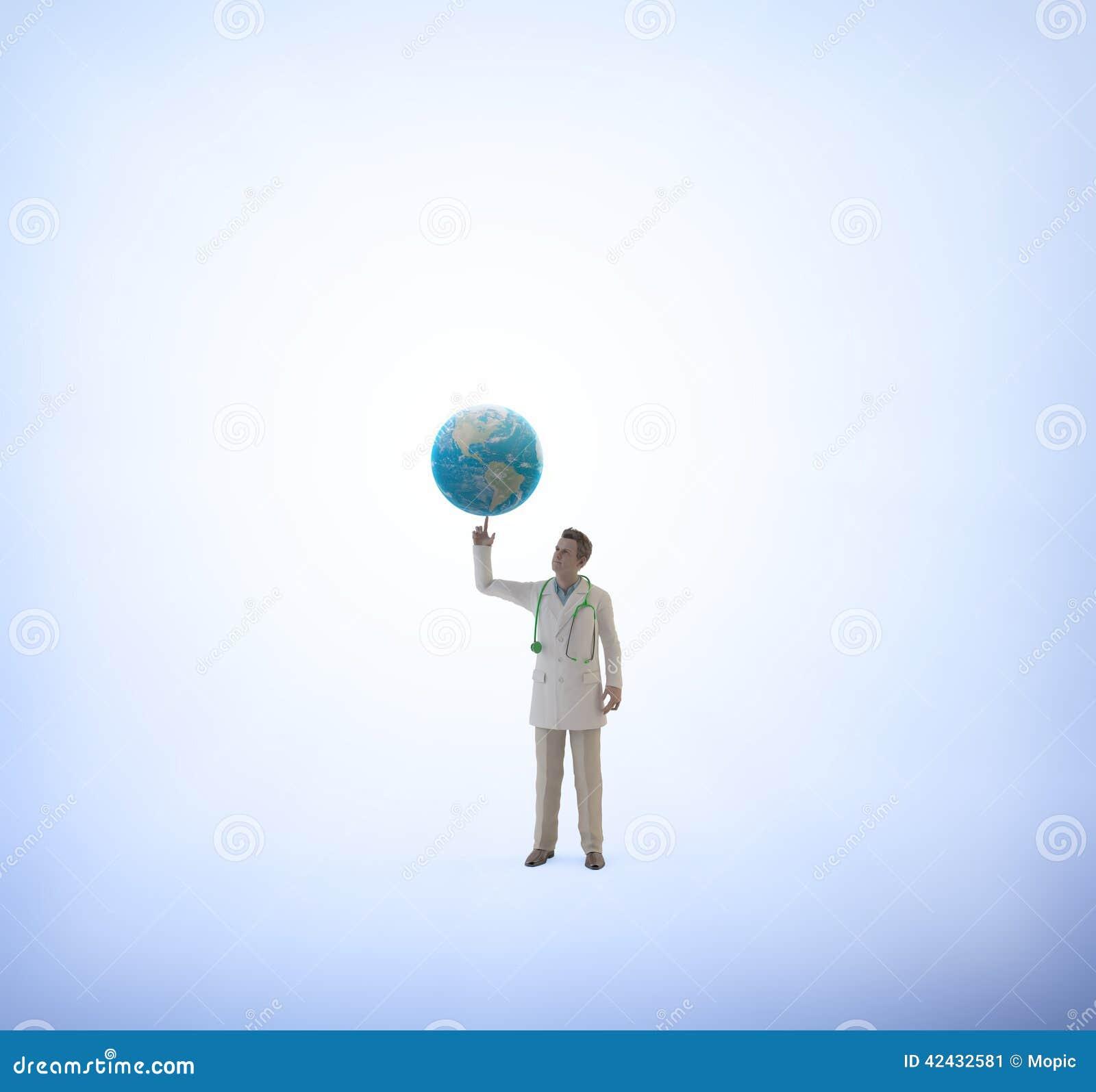 Doctor minúsculo con un globo