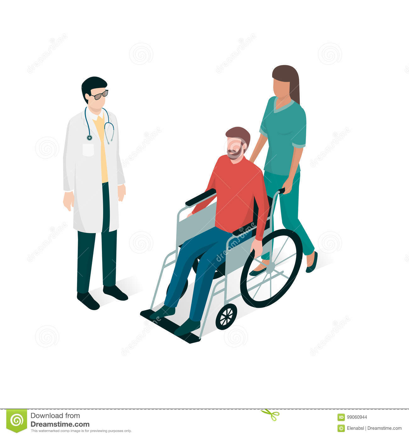 Doctor and nurse assisting a man on wheelchair