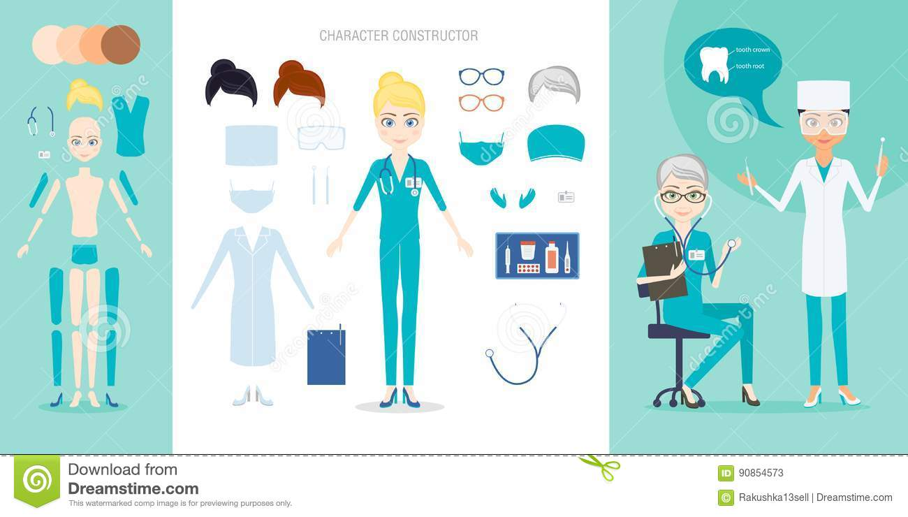 The Doctor Or Nurse Character Constructor Set  Stock Vector